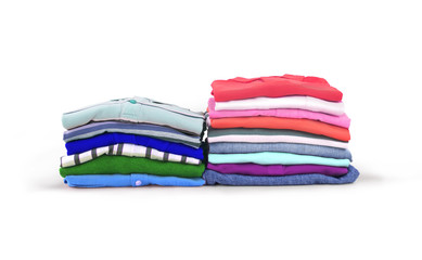 Pile of bright clothes on a white background.