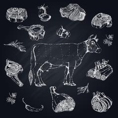 Meat Monochrome Hand Drawn Set