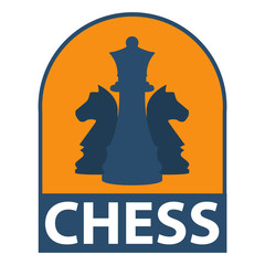 Icon of chess in strategy in flat style. Concept of design of an emblem for the websites, banners and infographic,chess companies. Business sign, corporate identity.Template for school