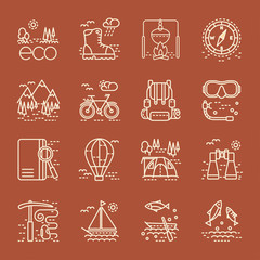 Eco tourism icons set on brown background.