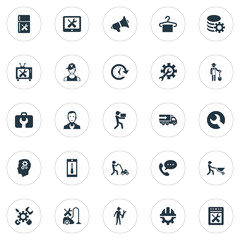 Vector Illustration Set Of Simple Support Icons. Elements Truck, Farmer With Shovel, Mechanic And Other Synonyms Engineering, Support And Repair.