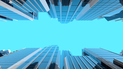 3D illustration of modern corporate skyscrapers with reflective blue windows. The camera looks upwards to the sky from a low angle. Wall mural
