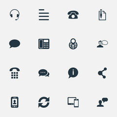 Vector Illustration Set Of Simple Contact Icons. Elements Reload, Wireless Gadgets, Speech Cloud And Other Synonyms Info, Headphones And Sheet.
