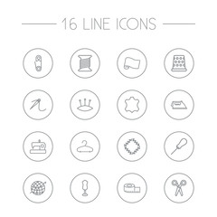 Set Of 16 Stitch Outline Icons Set.Collection Of Bobbin, Safety Pin, Fabric And Other Elements.