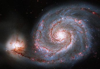 Whirlpool Galaxy. Spiral galaxy M51 or NGC 5194.