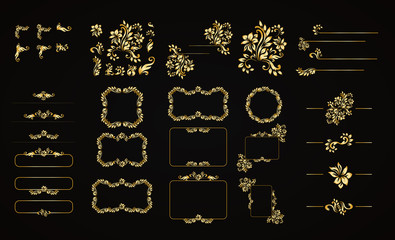 Golden calligraphic vector design elements on the black background. Gold menu and invitation border, frame,divider,page decor. Luxury style calligraphic