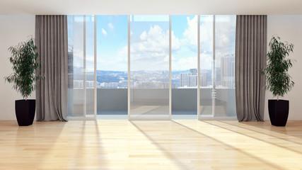 Modern bright living room. 3D rendering