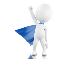 3d Super hero with blue cape.