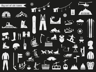Big set of icons for ski and winter sports.
