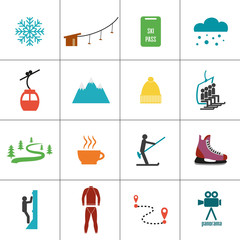 Set of icons for ski and winter sports.