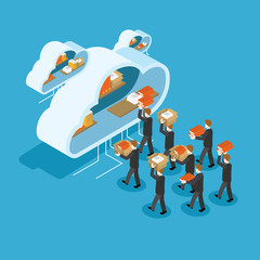 Vector illustration. Business people putting stuff in cloud cabinet