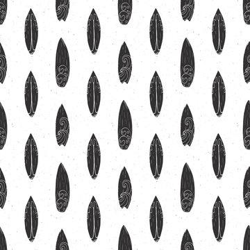 Surf boards seamless pattern hand drawn sketch background, typography design, monochrome vector illustration