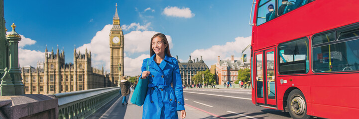 Wall Mural - London Big Ben city lifestyle woman walking banner. Urban businesswoman going to work on Westminster bridge with red bus double decker background. Europe destination, England, Great Britain.