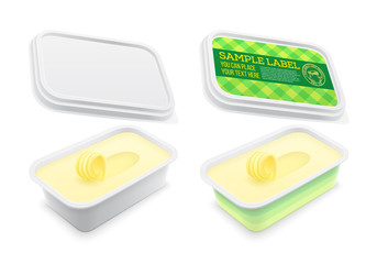 Vector labeled plastic square container with butter within. Packaging template illustration.