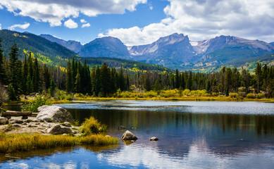 Sprague Lake in Rocky Mountain National Park Colorado Wall mural