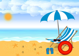 Summer beach design in the seashore with beach umbrella and chair