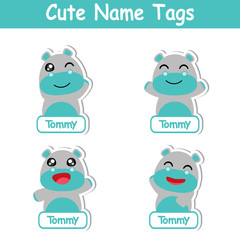 Cute hippo boy is happy vector cartoon illustration suitable for kid name tags design, and sticker set