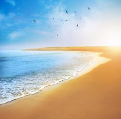 Fototapete - beautiful view of sunset on the sea