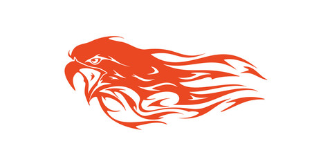 Eagle Head Flame Vector Template Design