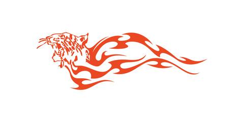 Tiger Head Flame Vector Design