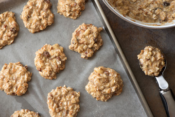 Healthy homemade banana and oatmeal cookies dough before baking