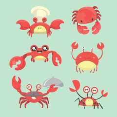 Illustration of a set of cartoon crab characters.