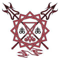 Sign of Lucifer, the pentagram and crossed devil's pitchfork