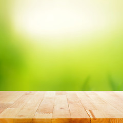 Wood table top on white green abstract background