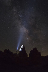 Milky Way illuminate at California desert landscape