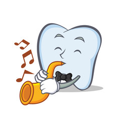 tooth character cartoon style with trumpet