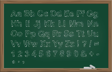 School green blackboard with hand drawn chalk font. Vector illustration.