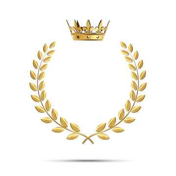 Isolated golden laurel wreath with crown. Vector illustration.