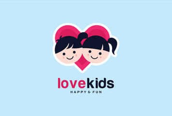 Love Kids Logo Template Design Vector, Emblem, Design Concept, Creative Symbol, Icon