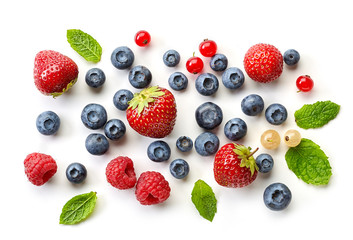 various fresh berries on white background