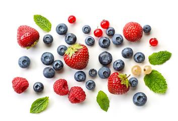 various fresh berries on white background Fototapete