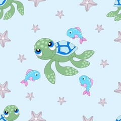 Seamless pattern with whales and the marine elements. Vector illustration.