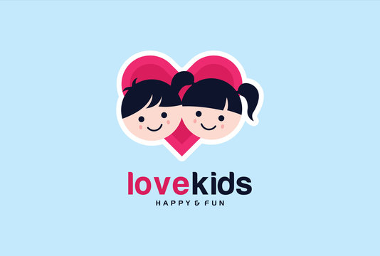 Love Kids Logo Template Design Vector, Emblem, Design Concept, Creative Symbol, Icon