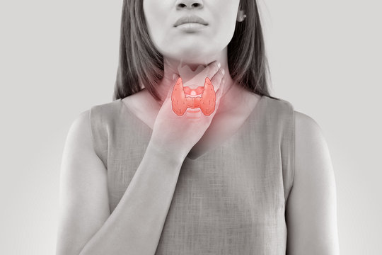 Women thyroid gland control. Sore throat of a people isolated on white background.