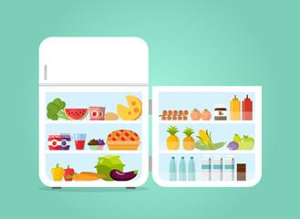 Kühlschrank geöffnet Icon Flat Design Vektor Grafik Illustration