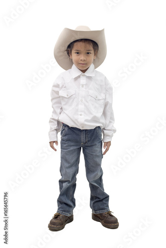 344ac1e8d4090 young boy wear cowboy hat isolate on white background.