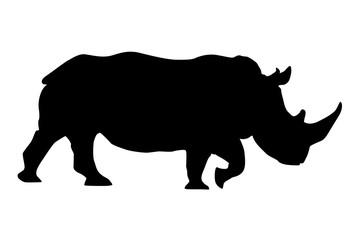 Rhino. Black silhouette