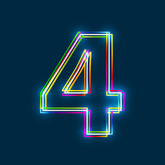 Fototapeta Number 4 - Vector multicolored outline font with glowing effect isolated on blue background. EPS10 obraz