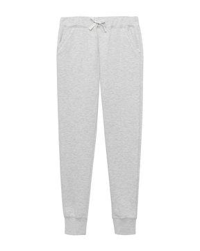 Light gray sport sweatpants isolated white