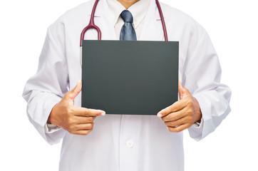 Doctor holding blank white banner (board).