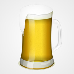 Glass of beer for International Beer Day. Symbol or icon for your design in cartoon style. Vector illustration. Holiday Collection.
