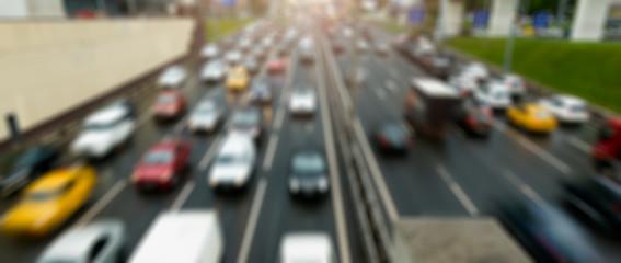 Defocused photo of traffic jams