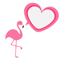 Pink flamingo. Exotic tropical bird. Zoo animal collection. Heart frame talking bubble. Cute cartoon character. Decoration element. Flat design. White background. Isolated.