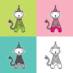 Cute and fun cat vector illustration with doodle patterns, striped hat and a big smile in various colors.