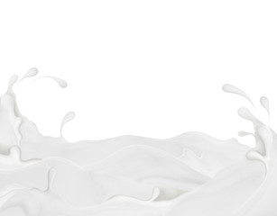 Splashes of milk on white background. Milk river, concept image.