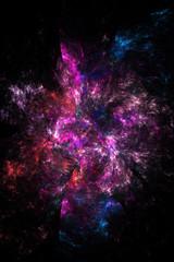 Abstract blurred red, blue and pink swirl on black background. Fantasy fractal design. Digital art. 3D rendering.